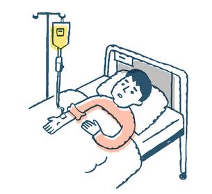 ベッドで点滴を受ける男性のイラスト素材 [FYI04308814]