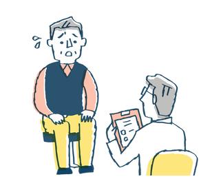 診察 医者と不安そうな男性患者のイラスト素材 [FYI04308815]