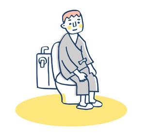 トイレに座る検査着の男性のイラスト素材 [FYI04308822]