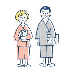 検査着を着た2人の患者のイラスト素材 [FYI04308825]