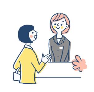 フロント 受付係と女性客のイラスト素材 [FYI04308826]