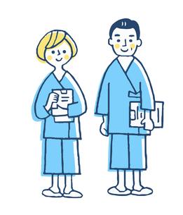 検査着を着た2人の患者のイラスト素材 [FYI04308835]
