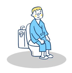 トイレに座る検査着の男性のイラスト素材 [FYI04308836]