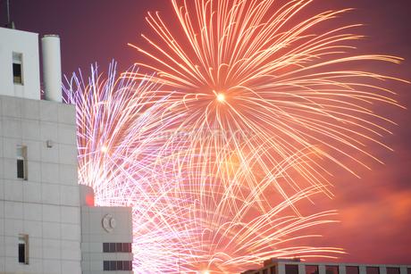 ビルの狭間から見える花火の写真素材 [FYI04309006]
