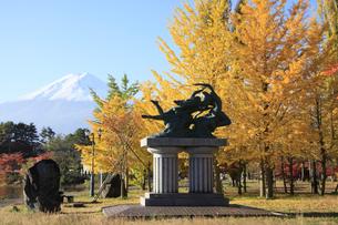 河口湖の湖畔にある紅葉の大池公園と世界文化遺産の富士山 ブロンズ像 湖上の女神の写真素材 [FYI04309445]