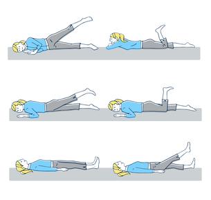 ストレッチ 寝ながらの運動のイラスト素材 [FYI04309493]
