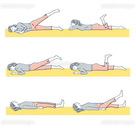 ストレッチ 寝ながらの運動のイラスト素材 [FYI04309494]