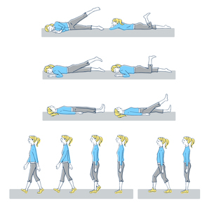 運動 歩く動作やストレッチなどのイラスト素材 [FYI04309499]