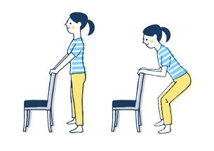 椅子を使ったスクワットをする女性のイラスト素材 [FYI04309502]