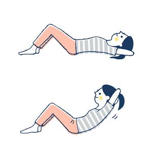 腹筋運動する女性のイラスト素材 [FYI04309503]