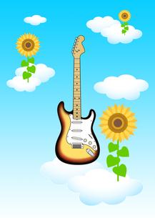 青い空 白い雲 ひまわりの花 ギター イラストのイラスト素材 [FYI04309581]