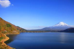 紅葉の本栖湖から眺める世界文化遺産の富士山の写真素材 [FYI04309739]