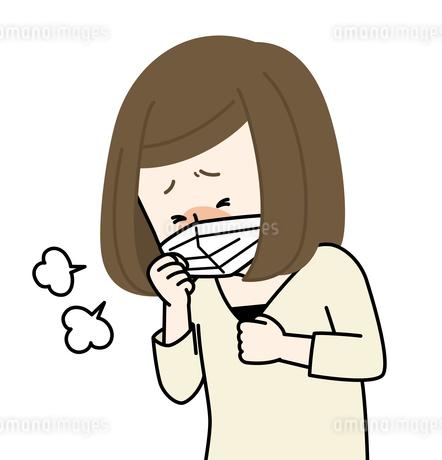 咳をする体調不良の女性のイラスト素材 [FYI04310203]