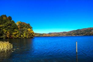 信州 長野県大町市 仁科三湖のひとつ 秋の青木湖の写真素材 [FYI04310498]