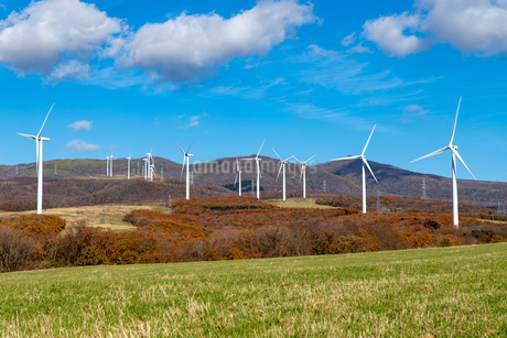 北海道伊達市 風力発電の風車の写真素材 [FYI04310819]