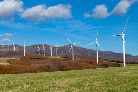 北海道伊達市 風力発電の風車の写真素材 [FYI04310823]