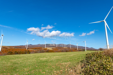 北海道伊達市 風力発電の風車の写真素材 [FYI04310825]