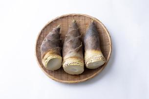 ざるに並べられたとれたての美味しそうなタケノコの写真素材 [FYI04311048]