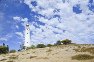 オーストラリア・西オーストラリア州のフリーマントルの沖合約18kmのインド洋に浮かぶロットネスト島のワジャマップ灯台と丘に生える草木と白い雲の光景の写真素材 [FYI04311338]