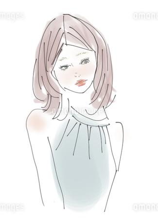 横を見る女性のイラスト素材 [FYI04311479]
