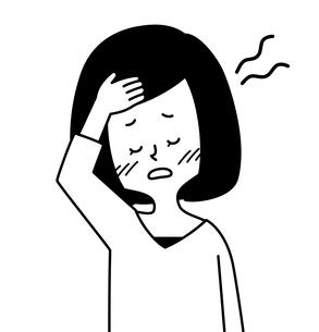 発熱している女性-白黒のイラスト素材 [FYI04311641]
