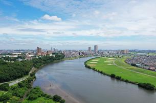 江戸川上空の空撮風景の写真素材 [FYI04311839]
