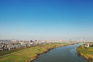 江戸川上空の空撮風景の写真素材 [FYI04311840]