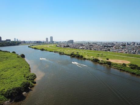 江戸川上空の空撮風景の写真素材 [FYI04311841]