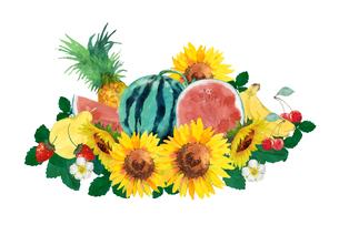 果物とヒマワリ水彩画のイラスト素材 [FYI04312079]