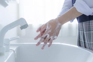 手洗いをする女子学生の手元の写真素材 [FYI04312099]