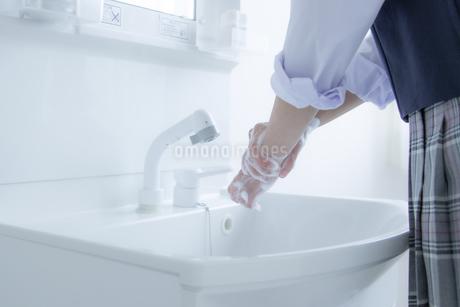 手洗いをする女子学生の手元の写真素材 [FYI04312100]