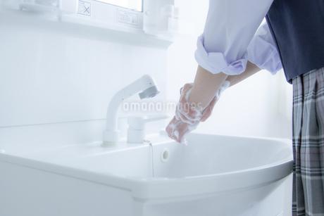 手洗いをする女子学生の手元の写真素材 [FYI04312101]