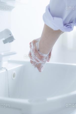 手洗いをする女子学生の手元の写真素材 [FYI04312102]