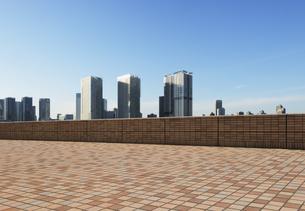 レンガ造りの石畳の広場と晴海の高層ビル群の写真素材 [FYI04313121]