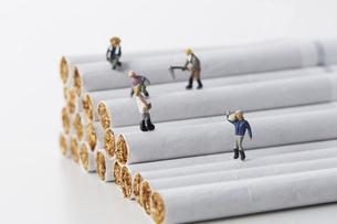 たばことたばこを作るミニチュアの人たちの写真素材 [FYI04313281]