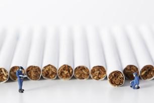 たばこを調査するミニチュアの作業員たちの写真素材 [FYI04313283]