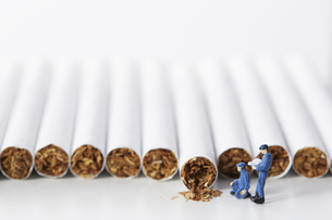 たばこを調査するミニチュアの作業員たちの写真素材 [FYI04313284]