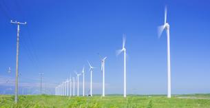 北海道 自然 風景   (青空と風車)の写真素材 [FYI04313471]