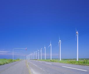 北海道 自然 風景   (青空と風車)の写真素材 [FYI04313473]