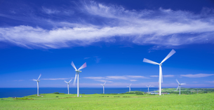 北海道 自然 風景   (青空と風車)の写真素材 [FYI04313479]