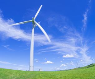北海道 自然 風景   (青空と風車)の写真素材 [FYI04313484]