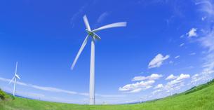 北海道 自然 風景   (青空と風車)の写真素材 [FYI04313493]