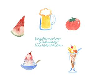 夏の食べ物水彩イラストのイラスト素材 [FYI04313691]