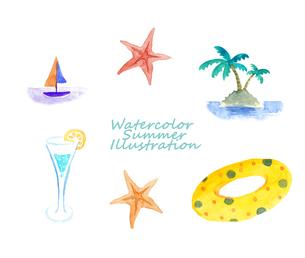 夏の水彩イラストセットのイラスト素材 [FYI04313692]