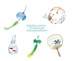 夏のアイテム水彩画セットのイラスト素材 [FYI04313693]