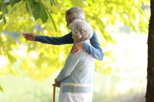公園で散歩を楽しんでいる老夫婦の写真素材 [FYI04314431]