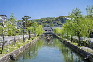 新緑と倉敷美観地区の舟流しの写真素材 [FYI04315265]