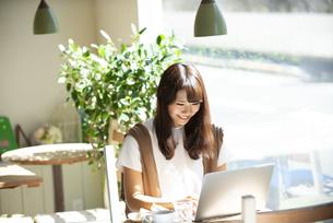 カフェでパソコンを使って仕事をしている女性の写真素材 [FYI04315483]