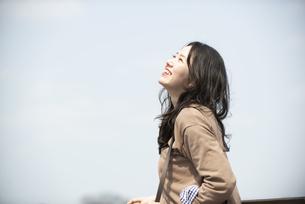 空を見上げて笑っている女性の写真素材 [FYI04315503]