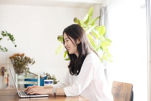 パソコンで仕事をしている女性の写真素材 [FYI04315517]